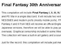 外媒透露明年《最终幻想》30周年的庆祝活动 大量PC游戏要来了!
